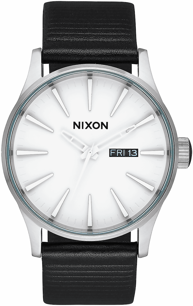 Nixon Sentry Leather Watch<br>White/Silver/Black