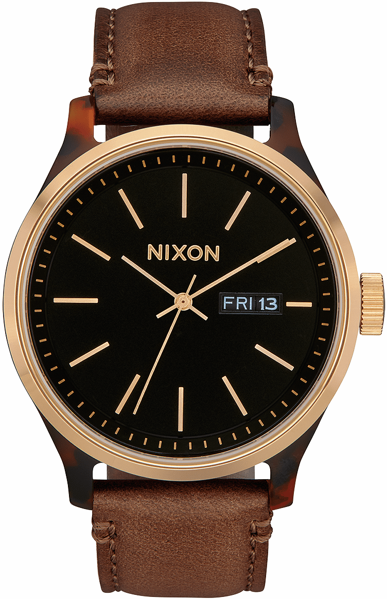 Nixon Sentry Luxe Watch<br>Tortoise/Gold/Brown