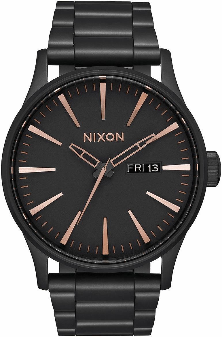 Nixon Sentry SS Watch<br>All Black/Rose Gold