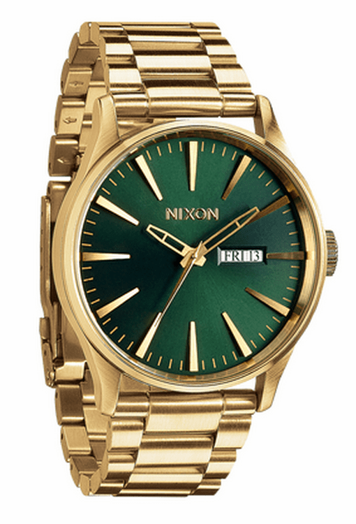Nixon Sentry SS Watch<br>Gold/Green Sunray