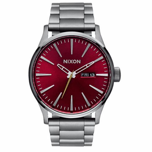 Nixon Sentry SS Watch<br>Gunmetal/Deep Burguny