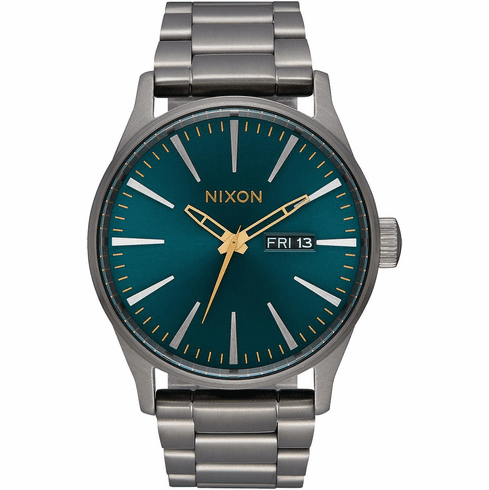 (SALE!!!) Nixon Sentry SS Watch<br>Gunmetal/Spruce/Brass