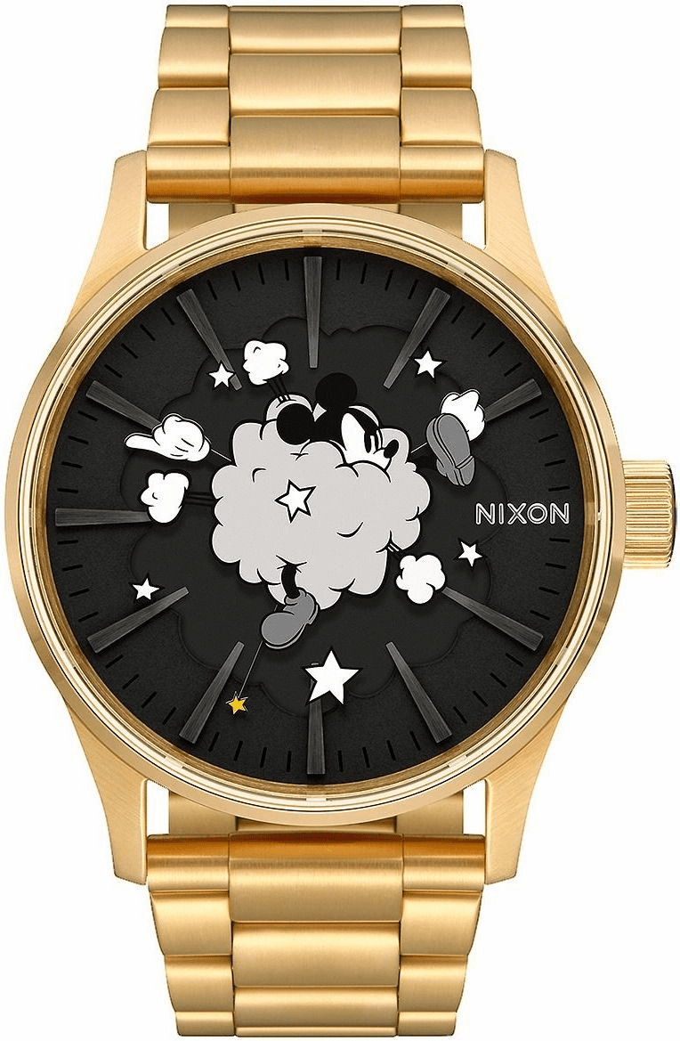 (SALE!!!) Nixon Sentry SS Watch<br>MICKEY X NIXON<br>Gold/Black/Fight Cloud