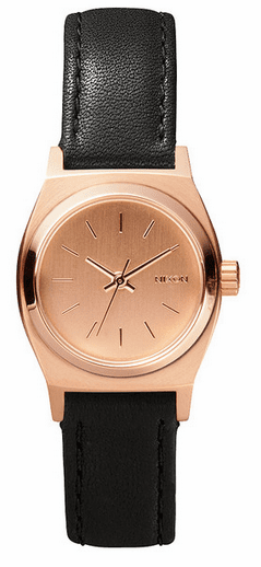 (Sale!!!) Nixon Small Time Teller Leather Watch<br>All Rose Gold/Black
