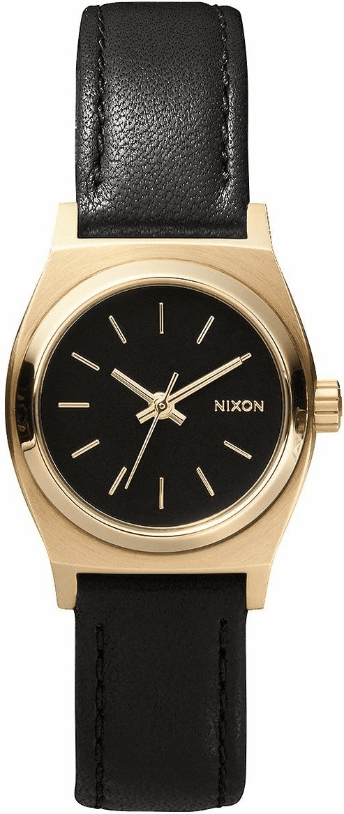 (Sale!!!) Nixon Small Time Teller Leather Watch<br>Black/Gold