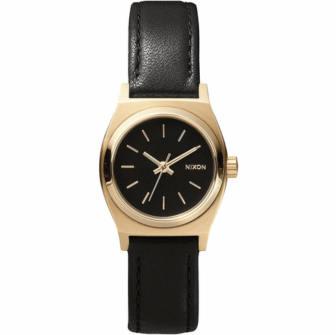 Nixon Small Time Teller Leather Watch<br>Black/Gold