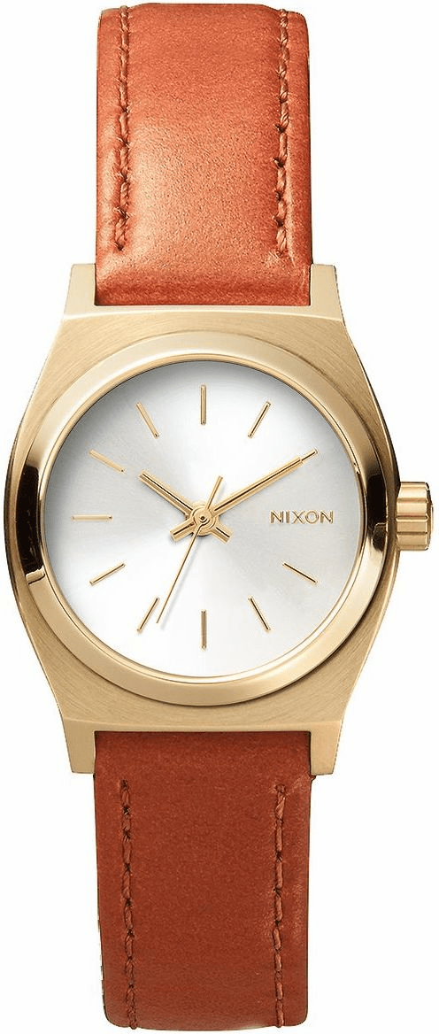 Nixon Small Time Teller Leather Watch<br>Light Gold/Saddle