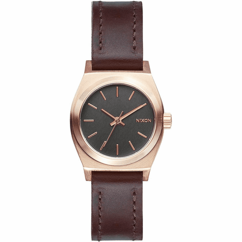 (Sale!!!) Nixon Small Time Teller Leather Watch<br>Rose Gold/Gunmetal/Brown