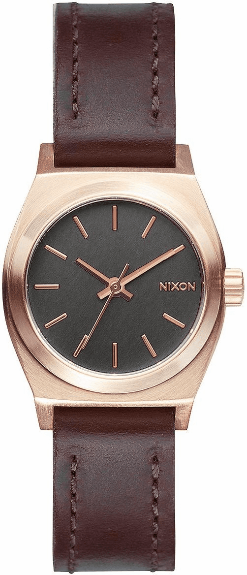 Nixon Small Time Teller Leather Watch<br>Rose Gold/Gunmetal/Brown