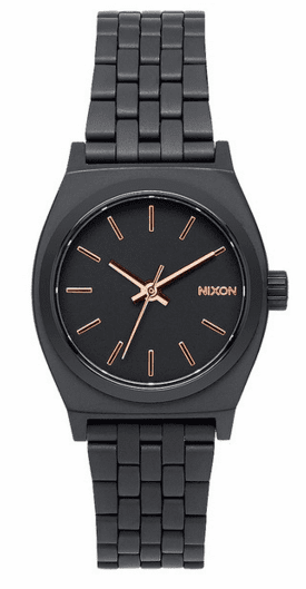 Nixon Small Time Teller Watch<br>All Black/Rose Gold