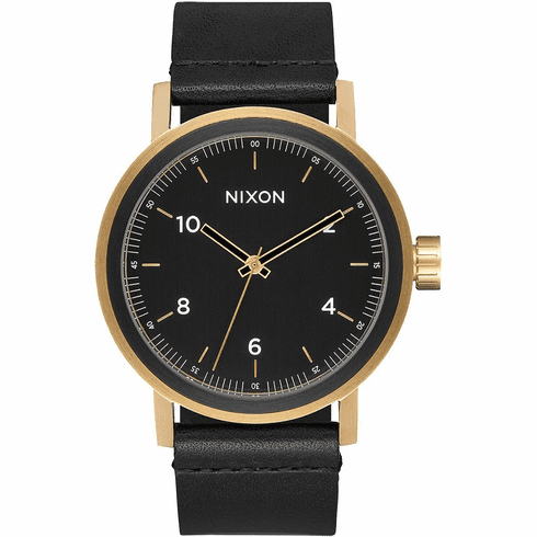 Nixon Stark Leather Watch<br>All Black/Gold