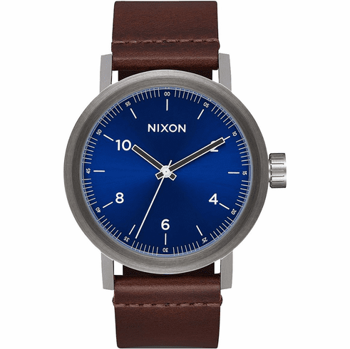 Nixon Stark Leather Watch<br>Blue Sunray/Brown