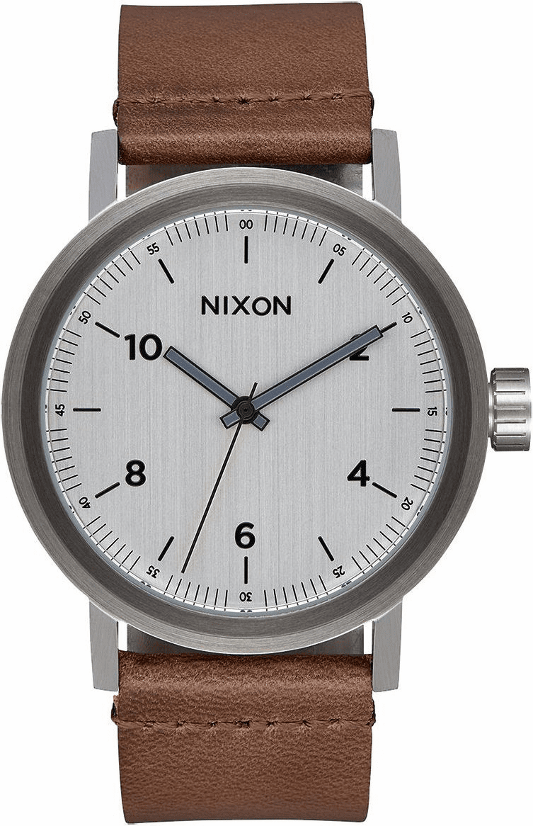 Nixon Stark Leather Watch<br>Silver/Saddle