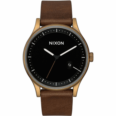 Nixon Station Leather Watch<br>Brass/Black/Brown