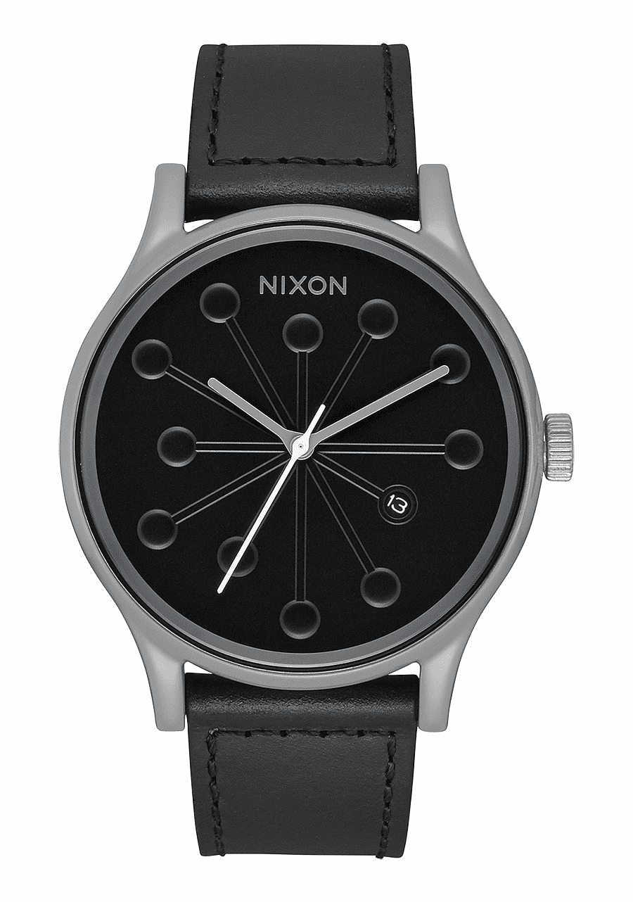 Nixon Station Leather Watch<br>Gray/Caples