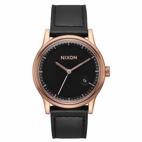 (SALE!!!) Nixon Station Leather Watch<br>Rose Gold/Black