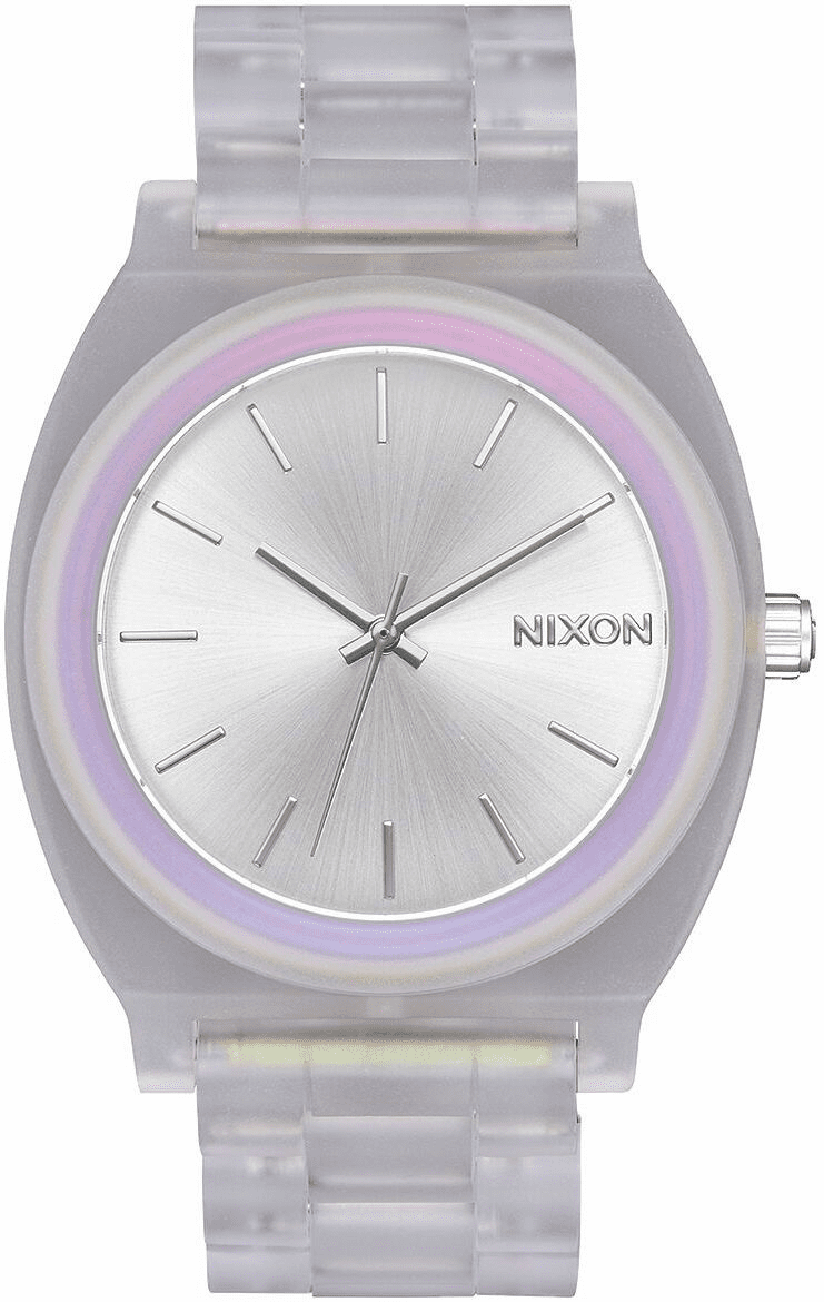 (SALE!!!) Nixon Time Teller Acetate Watch<br>Clear/Silver Sunray/Rainbow