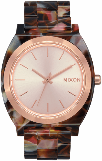 Nixon Time Teller Acetate Watch<br>Rose Gold/Pink Tortoise