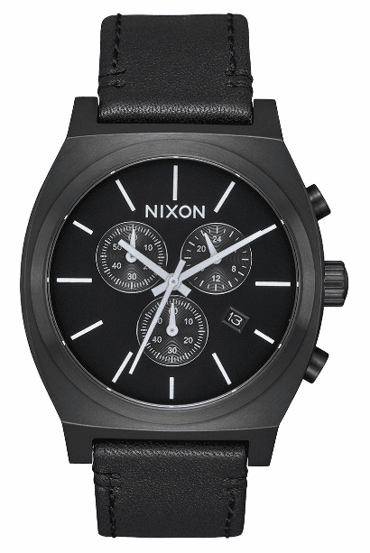 Nixon Time Teller Chrono Leather Watch<br>All Black