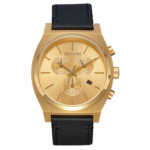 (SALE!!!) Nixon Time Teller Chrono Leather Watch<br>All Gold/Black