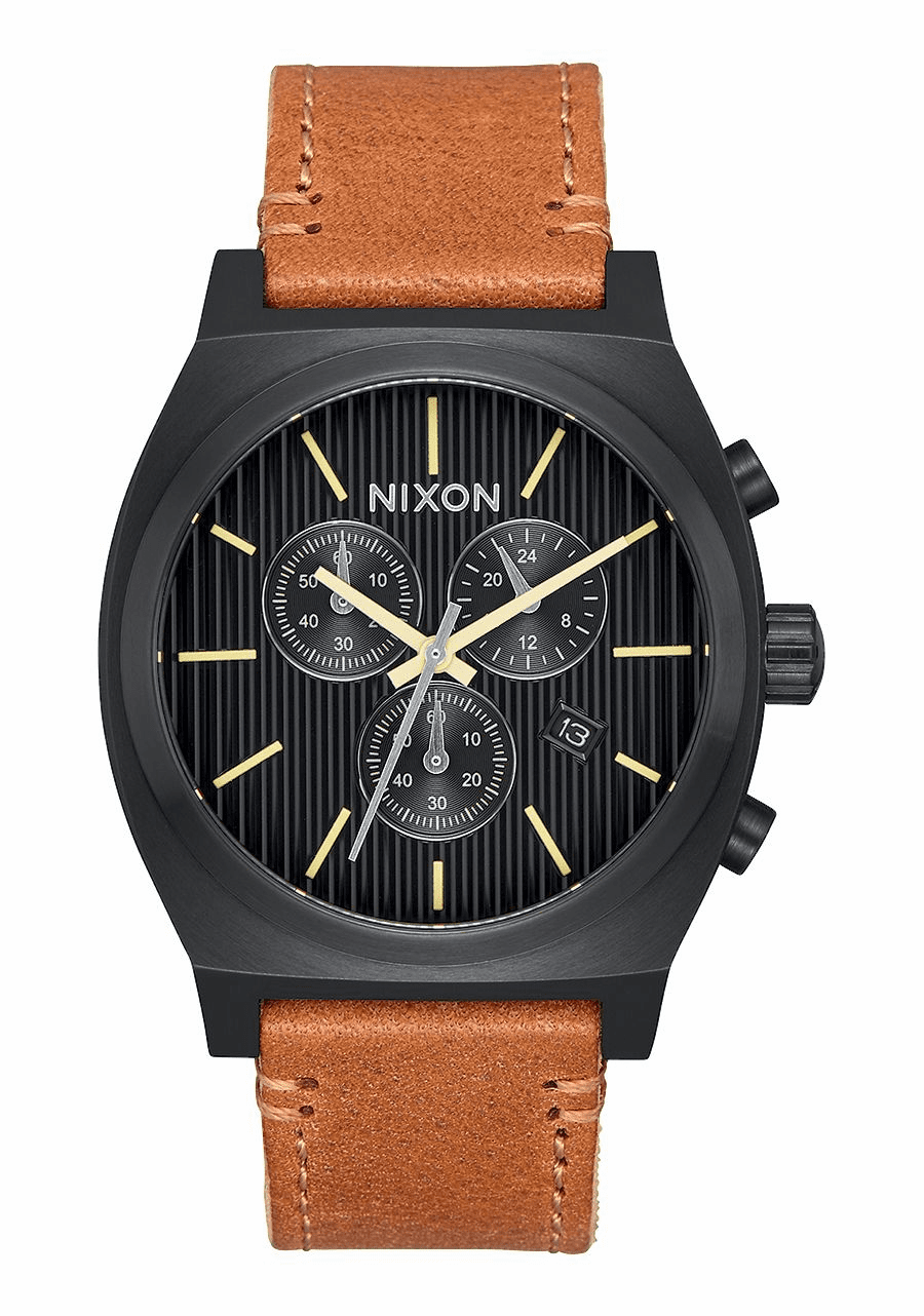 Nixon Time Teller Chrono Leather Watch<br>Black/Stamped?brown