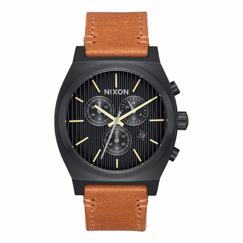 (SALE!!!) Nixon Time Teller Chrono Leather Watch<br>Black/Stamped?brown
