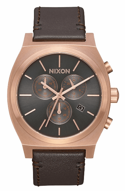 (SALE!!!) Nixon Time Teller Chrono Leather Watch<br>Rose Gold/Gunmetal/Brown
