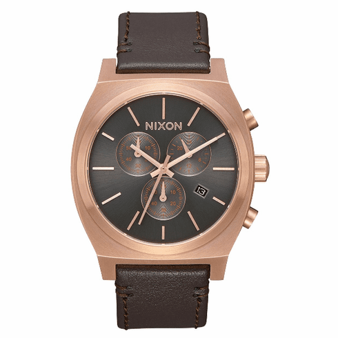 Nixon Time Teller Chrono Leather Watch<br>Rose Gold/Gunmetal/Brown