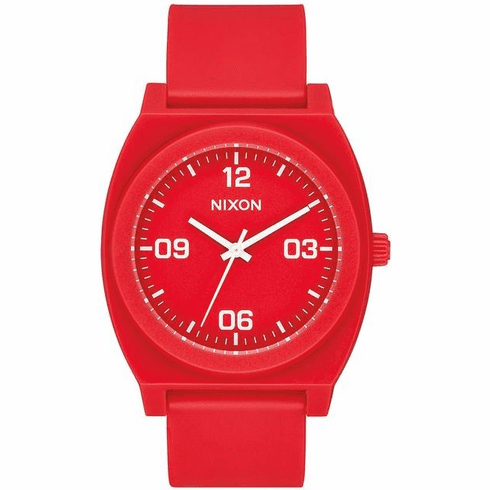 (SALE!!!) Nixon Time Teller P Corp Watch<br>Matte Red/White