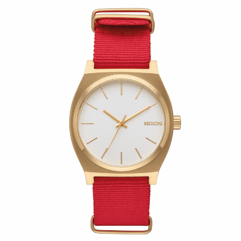 Nixon Time Teller Watch<br>Gold/White/Red