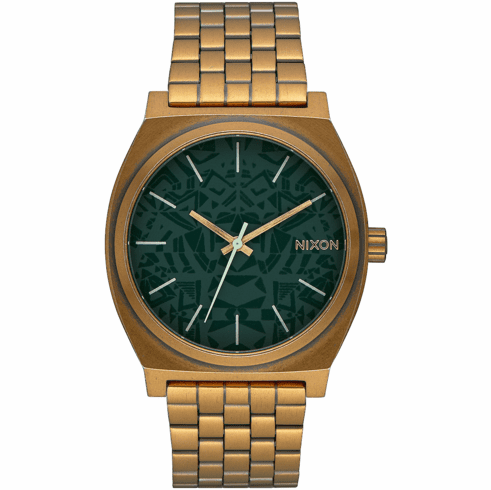 (SALE!!!) Nixon Time Teller Watch<br>Palm Green/Brass