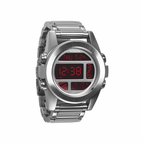 Nixon Unit SS Watch<br>Silver/Red