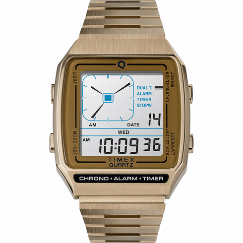 Q Timex Reissue Digital LCA Watch<br>Gold