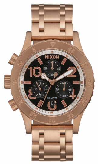 (Sale!!!) Nixon 38-20 Chrono Watch<br>Rose Gold/Black Sunray