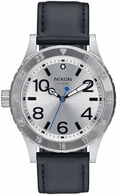 (Sale!!!) Nixon 38-20 Leather Watch<br>Silver/Black/Blue