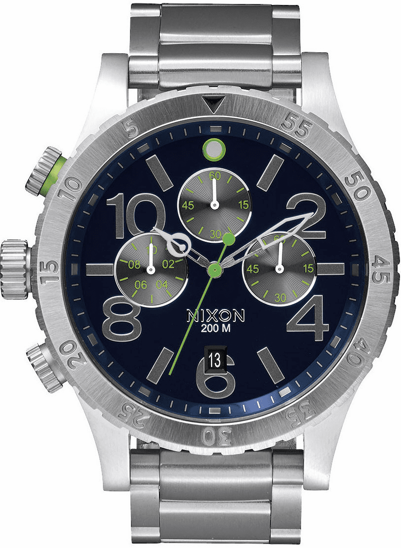 (Sale!!!) Nixon 48-20 Chrono Watch<br>Midnight Blue/Volt Green