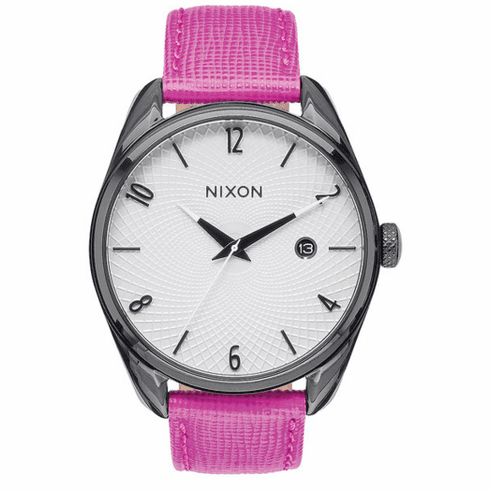 (Sale!!!) Nixon Bullet Leather Watch<br>Black/Hot Pink