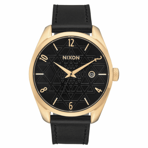 (Sale!!!) Nixon Bullet Leather Watch<br>Gold/Black/Stamped