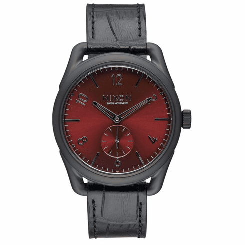(Sale!!!) Nixon C39 Leather Watch<br>Black/Gator