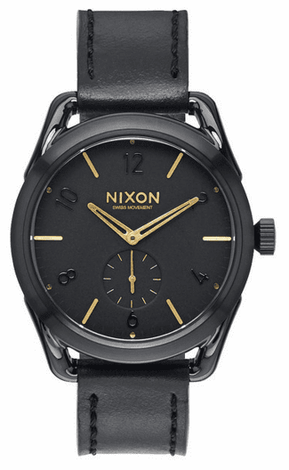 (Sale!!!) Nixon C39 Leather Watch<br>Black/Gold