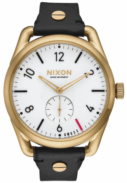 (Sale!!!) Nixon C39 Leather Watch<br>Light Gold/Black