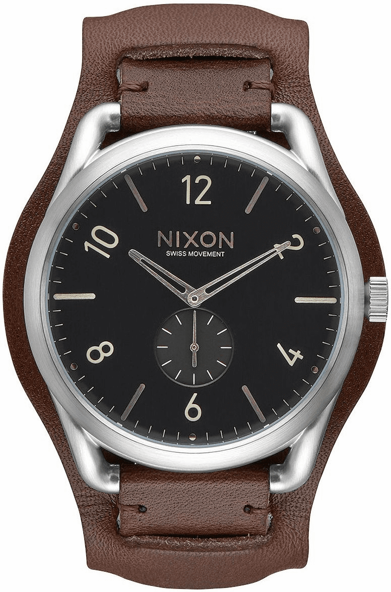 (Sale!!!) Nixon C45 Leather Watch<br>Black/Brown Cuff