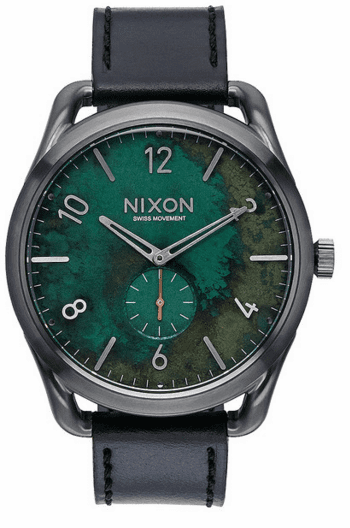 (Sale!!!) Nixon C45 Leather Watch<br>Gunmetal/Green Oxyde
