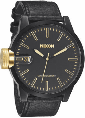 (Sale!!!) Nixon Chronicle Watch <BR>Matte Black/Gold