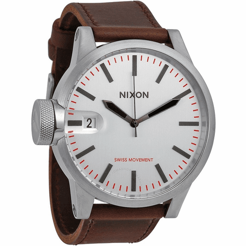 (Sale!!!) Nixon Chronicle Watch <BR>Silver/Brown
