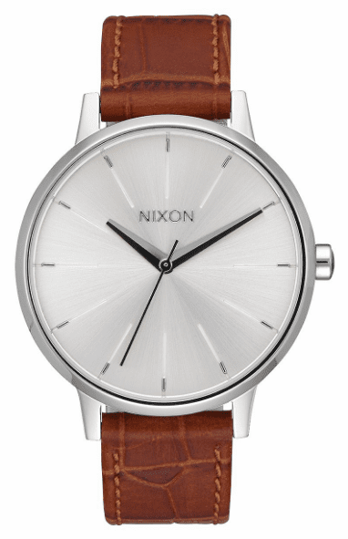 (Sale!!!) Nixon Kensington Leather Watch<br>Silver/Saddle Gator