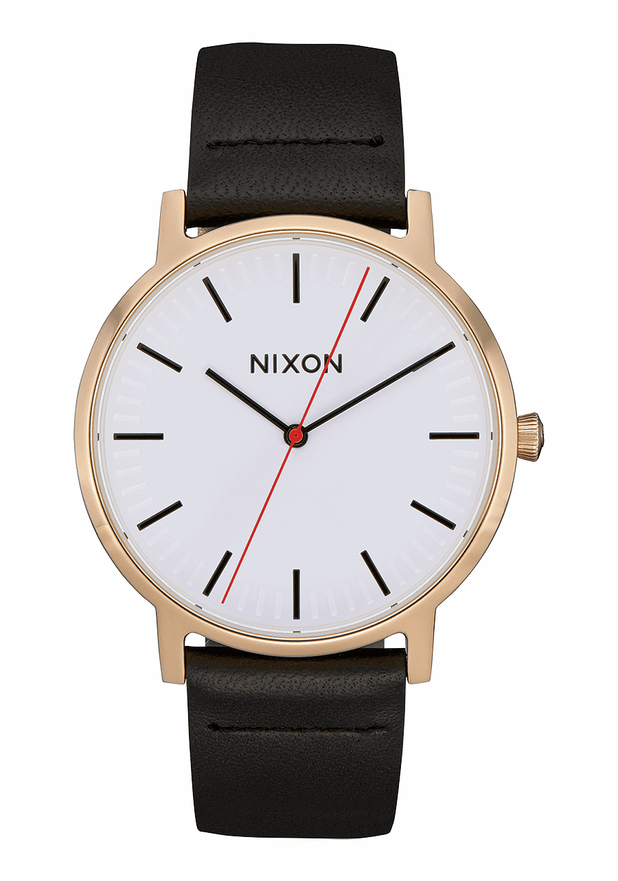 (SALE!!!) Nixon Porter Leather Watch<br>Gold/Bar