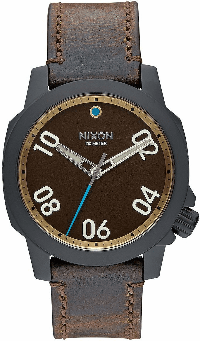 (Sale!!!) Nixon Ranger 40 Leather Watch<br>All BlackBlack/Brass/Brown