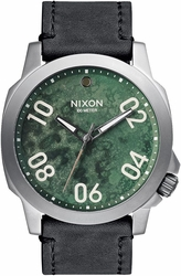 (Sale!!!) Nixon Ranger 45 Leather Watch<br>Gunmetal/Green Oxide