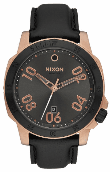 (Sale!!!) Nixon Ranger Leather Watch<br>Rose Gold/Gunmetal Sunray